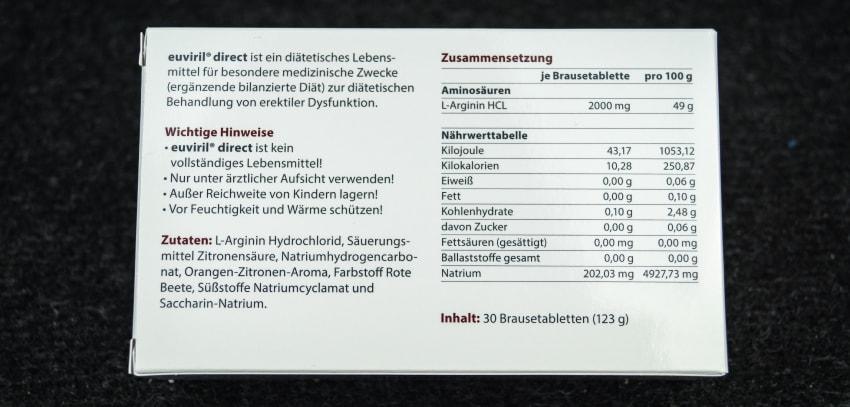Die Inhaltsstoffe von Euviril von der Packung abfotografiert.