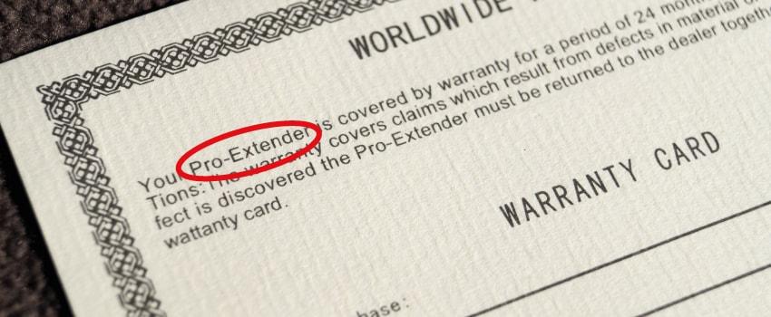Vorderseite der Extender Warranty Card.