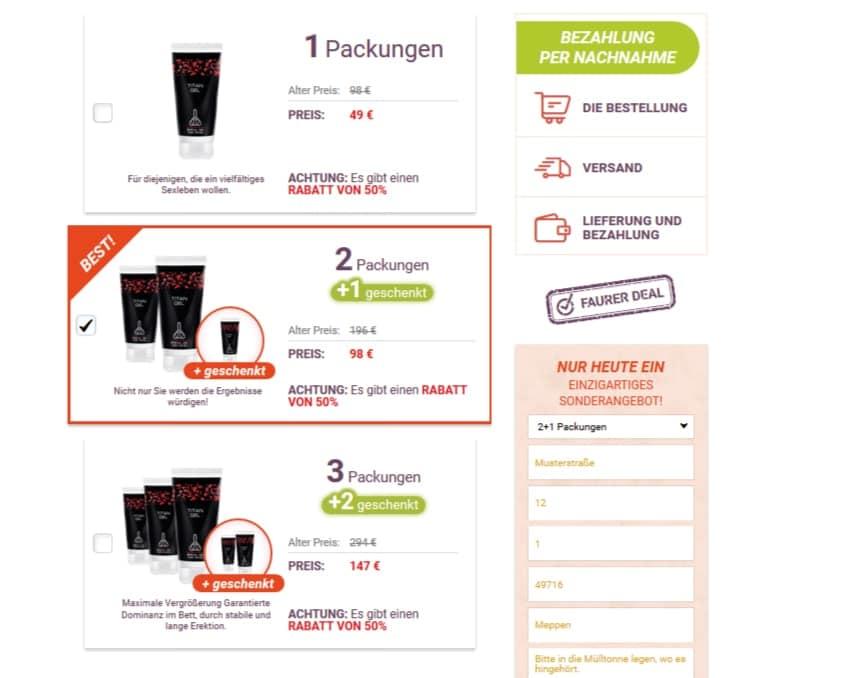 Hier können verschiedene Kauf Angebote zu Titan Gel gewählt werden.