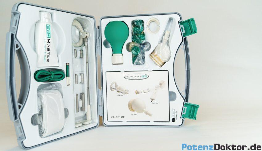 Penimaster Pro Erfahrung mit dem Koffer, der die Einzelteile sowie eine schriftliche Anleitung und Videos zur Anwendung enthält.